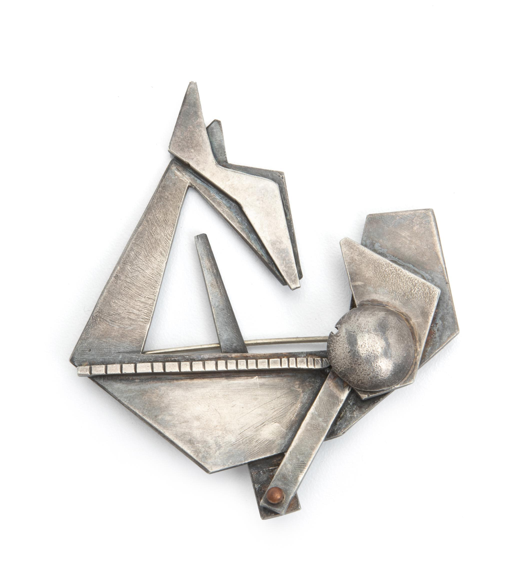 "Peter Macchiarini, (1909-2011, American), Abstract brooch, Sterling silver, 2.5"" H x 3"" W"