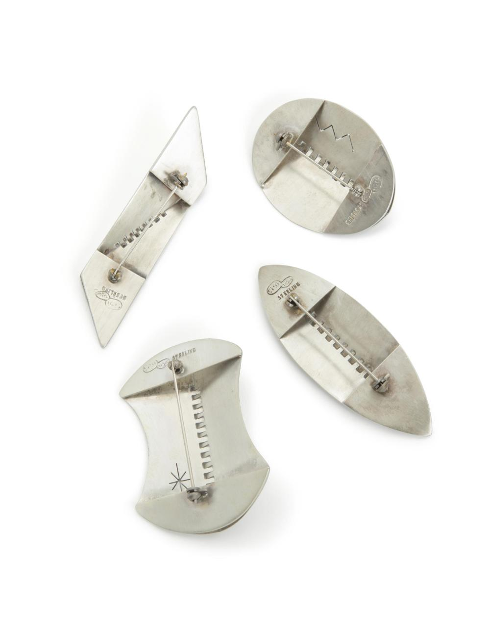Four Sigi Pineda sterling silver brooches