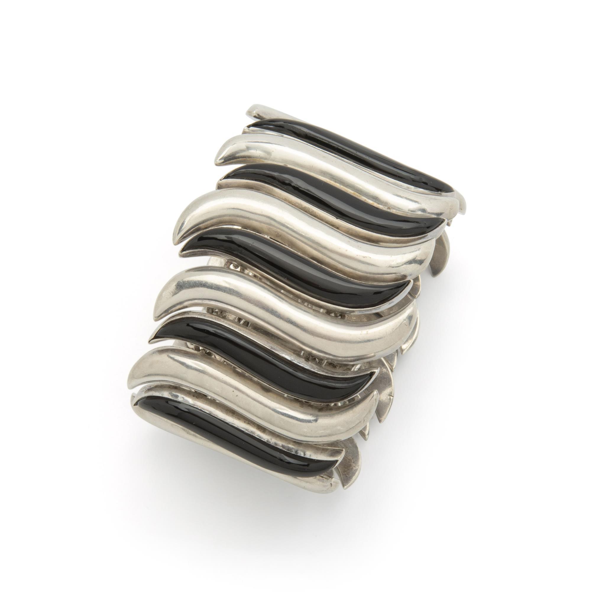 An Antonio Pineda silver and onyx bracelet