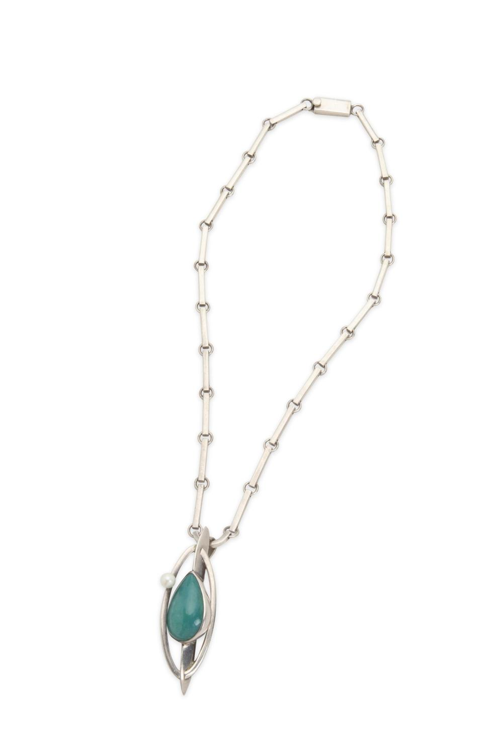 An Antonio Pineda silver, amazonite and pearl necklace