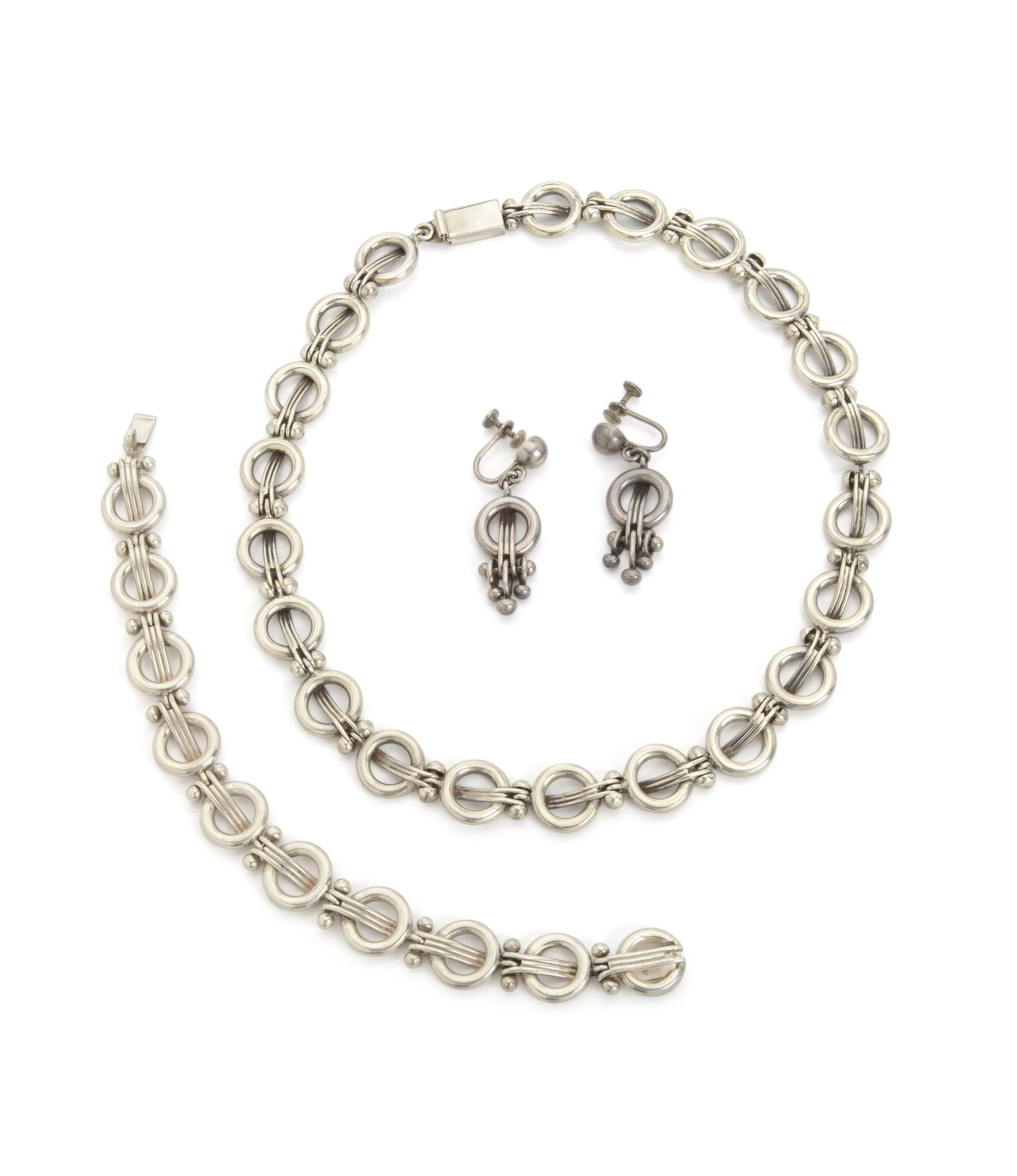 A suite of Hector Aguilar 940 silver jewelry