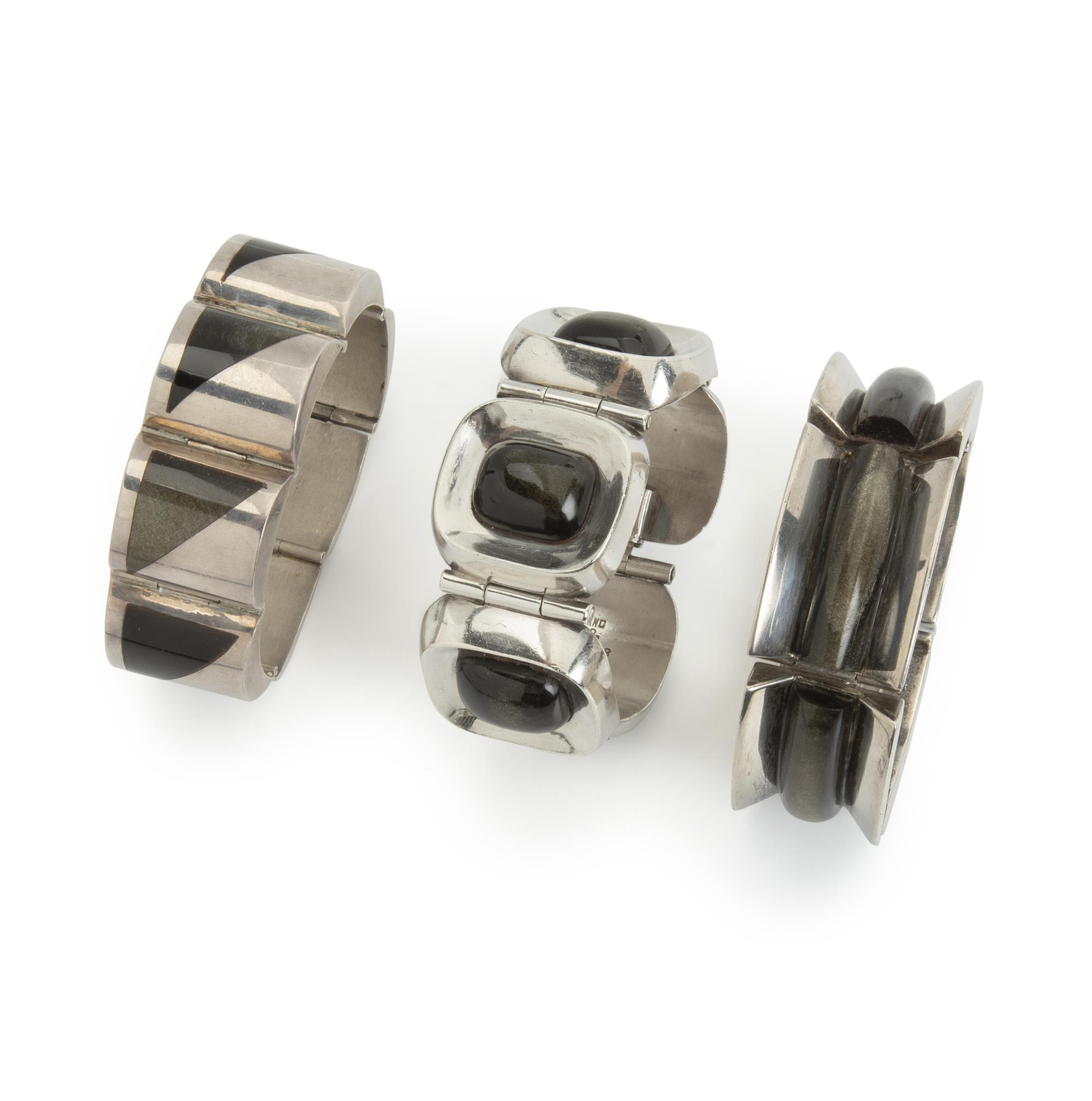 Three Enrique Ledesma sterling silver and obsidian bracelets