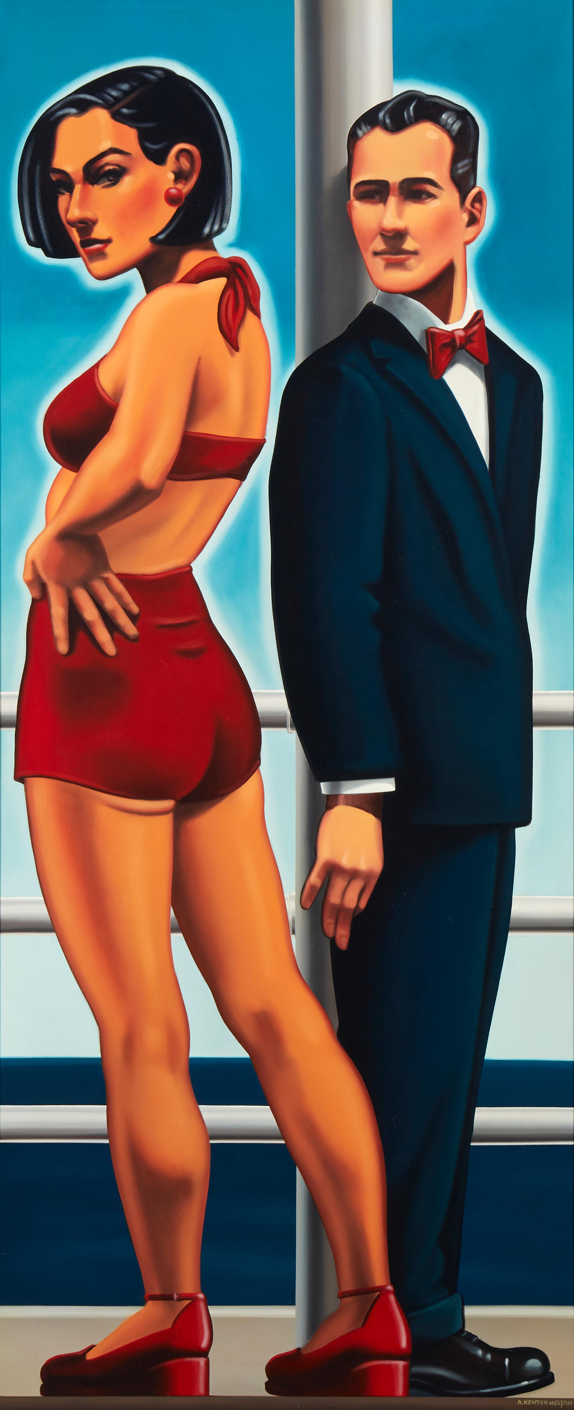 """R. Kenton Nelson, (b. 1954, American), Man in a Blue Suit, Oil on canvas, 49"""" H x 21"""" W"""