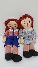 Large Raggedy Ann & Andy Dolls