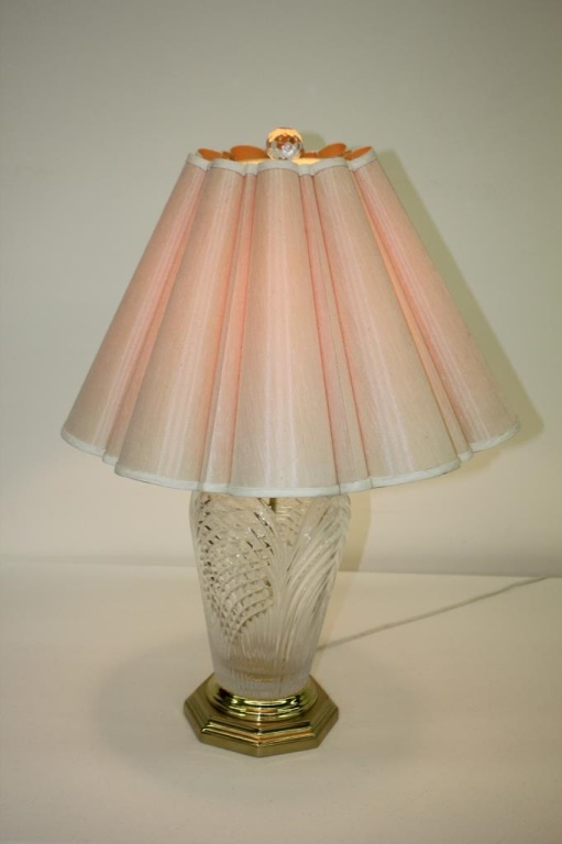 Table Lamp W Cut Glass Base