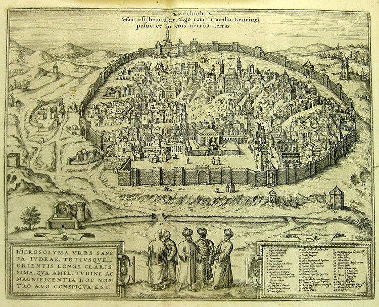 Map of Jerusalem. Braun & Hogenberg. Koln, 1575.