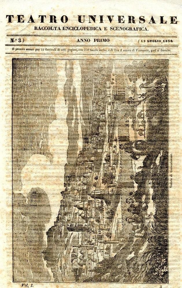 Panoramic map of Jerusalem. Torino, 1834.