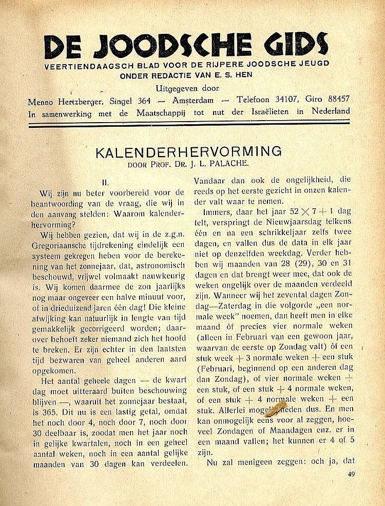 De Joodsche Gids, Journal. Amsterdam, c. [1930].