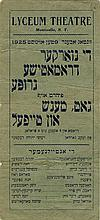 Poster Advertising a Theater Production with Chaim Nachman Bialik's Signature 1925