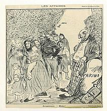 Anti-Semitism. Poster of a Jewish Merchant. 19th Century France