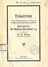 Eulogy by Rabbi Chaim Broyde for Dr. Nathan Ehrenfeld. Prague, 1912. Rare