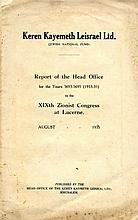 Keren Kayemeth L'eisrael Ltd. Official report from the JNF. Jerusalem, 1935
