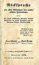 Rebuttal to Avraham Geiger, Reform Leader in Germany. Breslau, 1843