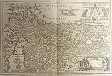 Four large maps -Engravings. Temple Mount, Jerusalem, Mt. Sinai, and Southern part of the Holy Land. 18th century