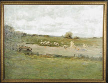 LARGE OIL ON CANVAS OF PASTORAL FARM SCENE BY CHARLES P. GRUPPE.