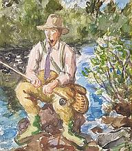 WALDO PEIRCE (American, 1884-1970) THE FLY FISHERMAN