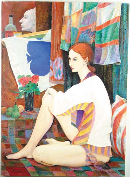 LOUIS WOLCHONOK (American, 1898-1973) POSING IN THE ARTISTS STUDIO