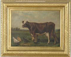 SCOTT LEIGHTON (American, 1849-1898) FARMYARD FAMILY