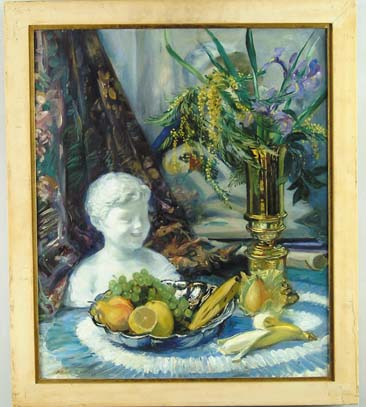 ALBERT STERNER (American, 1863-1946) STILL LIFE OF FRUIT, FLOWERS & SCULPTURE OF BUST OF CHILD