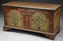 HISTORIC PAINTED & DOVETAILED DOWER CHEST MADE FOR ANNA-MARIA DICKERT, DAUGHTER OF JACOB DICKERT, FAMOUS PENNSYLVANIA RIFLE MAKER.