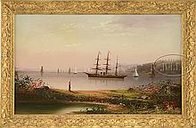 SIGNED (19th/20th Century) AMERICAN SHIP IN HARBOR.