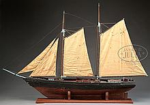 LARGE PLANK ON FRAME MODEL OF THE SCHOONER