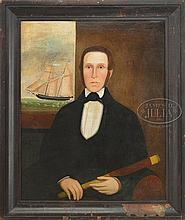 IMPORTANT FOLK ART PORTRAIT OF CAPTAIN JEFFERSON DEVEREAUX