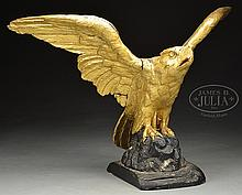 LARGE WOOD CARVED GILTWOOD PILOT HOUSE EAGLE.