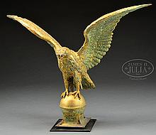 LARGE SPREAD WING GILT COPPER EAGLE WEATHERVANE.