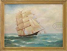 J.C. BRAINARD (American 19th/20th Century) SCHOONER IN FULL SAIL.
