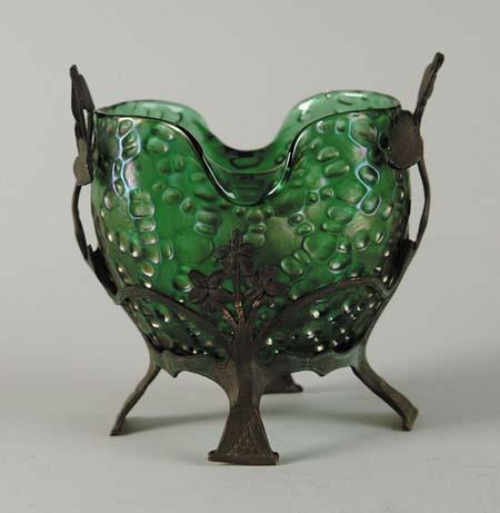 Loetz Type Iridescent Vase In Bronze Type Holder