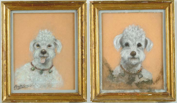 MARY M. GUICHARD (1929) PAIR OF WHITE POODLES
