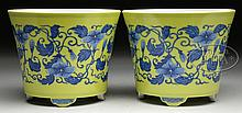 PAIR OF BLUE AND YELLOW PORCELAIN PLANTERS.