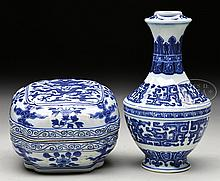 TWO BLUE AND WHITE PORCELAIN ITEMS.