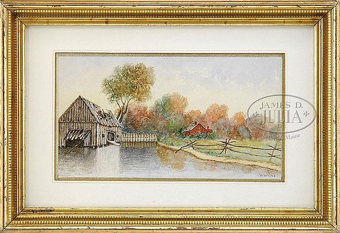 H. WHITE (American 19th/20th CENTURY) HOUSE AND MILL.