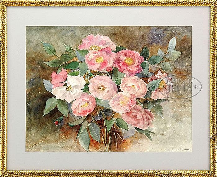 EMILY PERCY MANN (American, 19th/20th Century) PINK FLOWER BOUQUET.