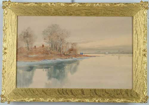 LOUIS KINNEY HARLOW (American, 1850-1930) LAKE SCENE WITH FIGURES