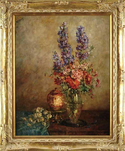"MARIE KLEINBARDT WEGER (American, 1882-1980) ""DELPHINIUMS"""