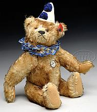 REMARKABLE AND COMPLETE BROWN TIPPED STEIFF TEDDY CLOWN BEAR.