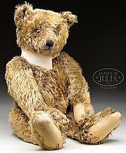 HANDSOME BROWN STEIFF 1920s ERA TEDDY BEAR WITH BUTTON.