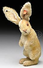 LATE 1920s STEIFF MOHAIR BEGGING RABBIT WITH BUTTON AND MUSTER BUTTON.