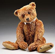 SPECTACULAR LARGE CENTER SEAM CINNAMON STEIFF TEDDY BEAR WITH BUTTON.