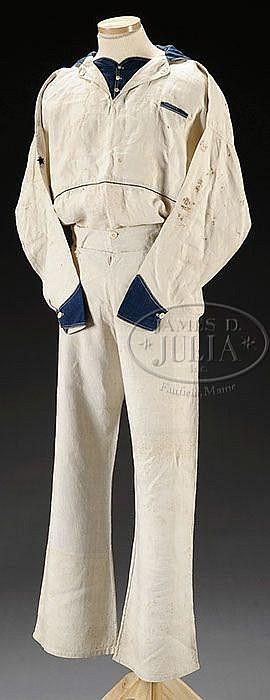Lot 2089: CIVIL WAR U.S. NAVY IDENTIFIED SUMMER ISSUE JUMPER AND TROUSERS.