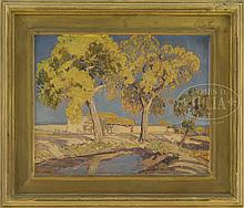 SHELDON PARSONS (American, 1866-1943) NEW MEXICO LANDSCAPE WITH ADOBE.