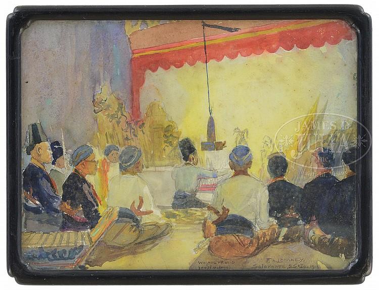 FREDERICK A. LEEKNEY (Latvian/American, 1900-) INDONESIAN PUPPET SHOW.