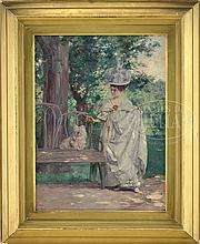LOUIS BETTS (American, 1873-1961) YOUNG GIRL PETTING A WHITE DOG IN THE PARK.