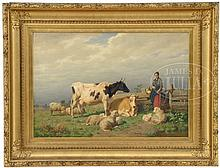 EDMUND TSCHAGGENY (Belgian, 1818-1873) MILKMAID ENTERING A FIELD WITH COWS AND SHEEP.