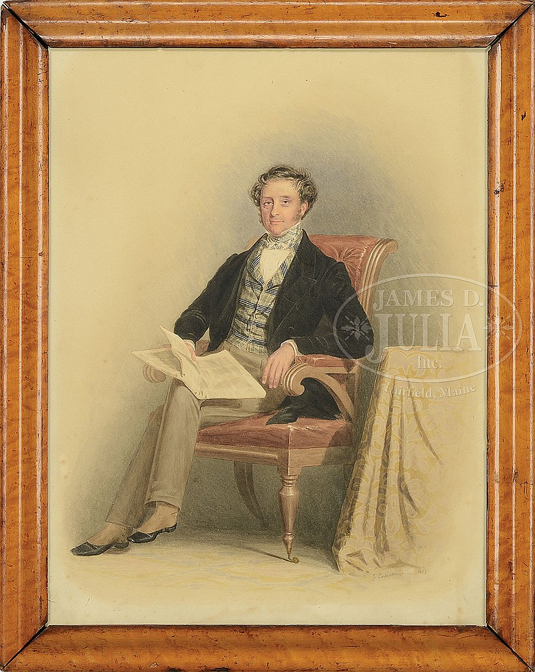 J CARPENTER (British, 19th Century) PORTRAIT OF A GENTLEMAN SEATED WITH NEWSPAPER.