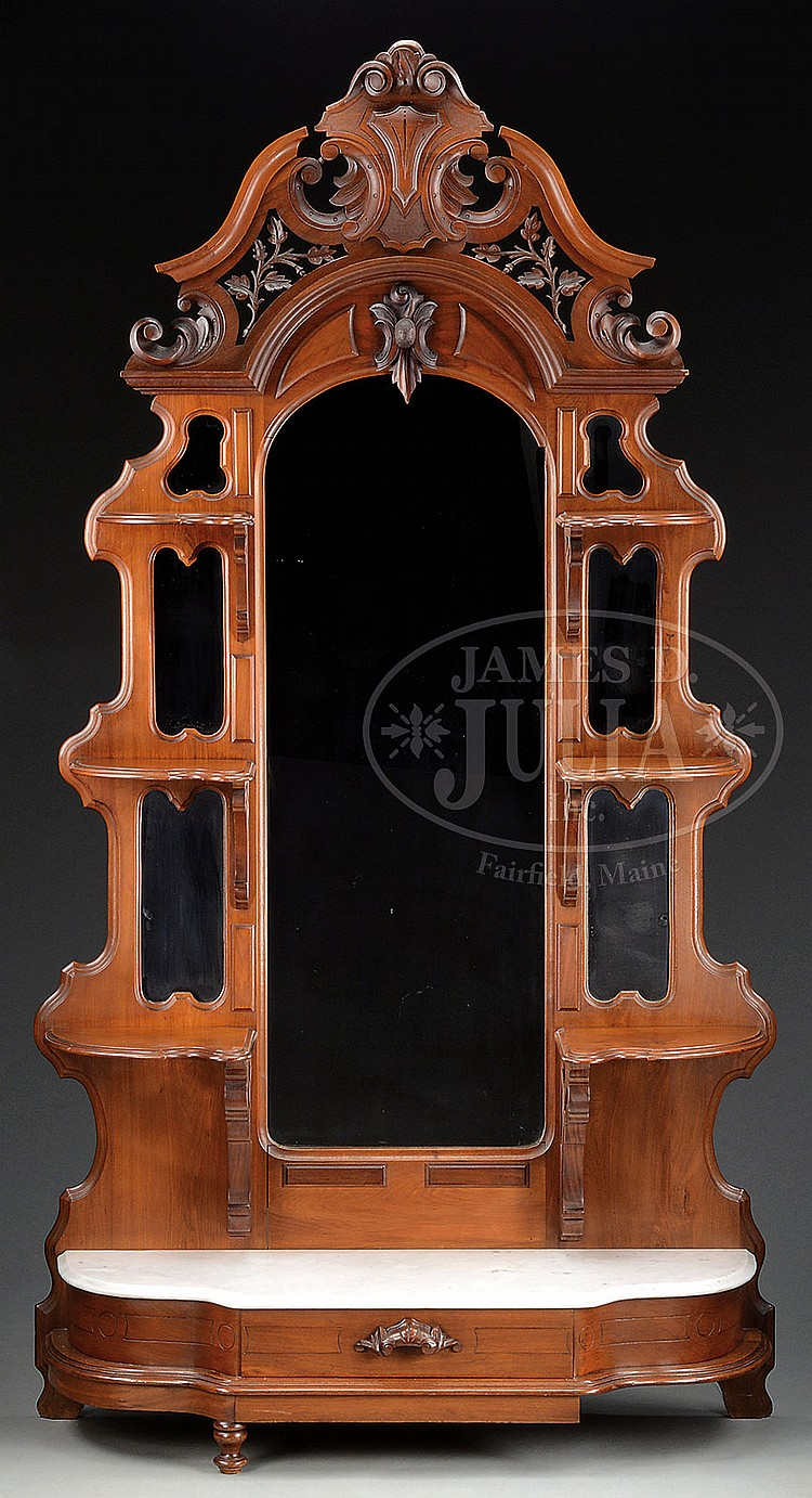 Ornate Carved Walnut Victorian Marble Top Etagere