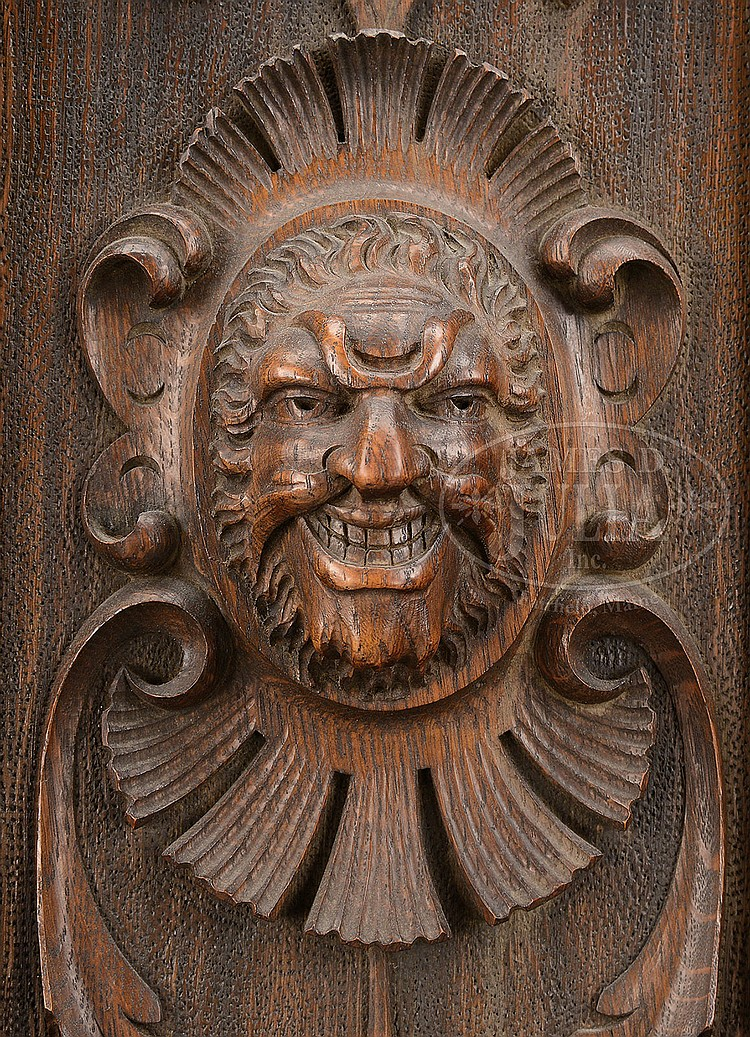 Fine American Carved Oak Tall Case Clock With Marked Tiffany